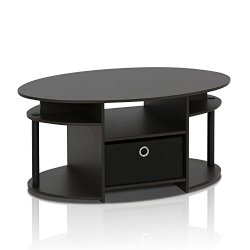 FURINNO Coffee Table With Bin, Walnut
