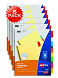 Avery 8-Tab Binder Dividers, Insertable Multicolor Big Tabs, 6 Sets (11111)