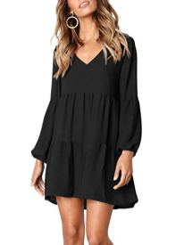 Summer Tunic Dress V Neck Casual Loose Flowy Swing Shift Dresses