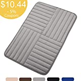 Bath Mat Soft Bathroom Rugs, Non-Slip Rubber Bath Rugs, Absorbent Bathroom Mat Rugs, Shower Mat, Comfortable Coral Velvet Bathroom Mat (16' x 24' Alternate Stripe, Grey)