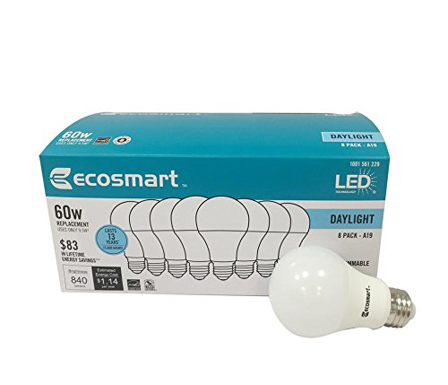 Ecosmart 8 Pack A19 - 60 Watt Equivalent Daylight (5000K) LED Light Bulb