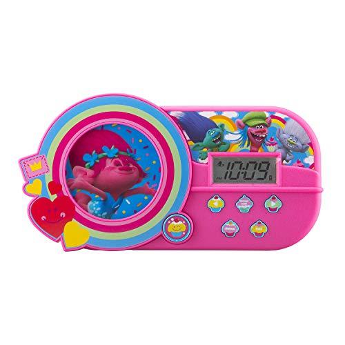 KIDdesigns DreamWorks Trolls Alarm Clock with Music and Night Light Pink