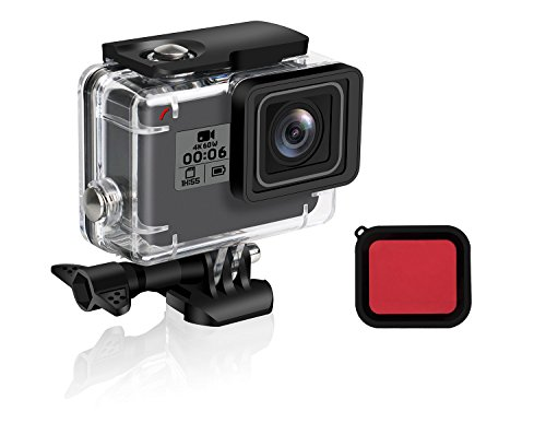 FINEST+ Waterproof Housing Shell for GoPro HERO (2018) 6/5 Black, Diving Protective Housing Case 45m with Red Filter and Bracket Accessories for Go Pro Hero(2018)6/5 Action Camera