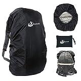 Jepeak Waterproof Backpack Rain Cover, 25L-35L Daypack Rainproof Dustproof Protector Raincover (Elastic Adjustable) for Hiking Camping Traveling Climbing Cycling, Black