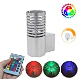 FANORAD Creative LED Wall Light (with Remote Control) Colorful Lights 3W Aluminum Alloy Lamp for KTV Bar Corridor Aisle (Silver, 1 PC)