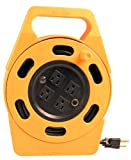 Woods 2801 Extension Cord Reel With Four 3-Prong Power Outlets, Heavy Duty Retractable Cord, User Friendly, Made of Flame Resistant Materials, 10 AMP Circuit Breaker, 25 Foot, Yellow