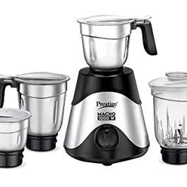 Prestige Macho Mixer Grinder- 1000 watts – with 3 Stainless Steel Jar and 1 juicer Jar – Black Colour, Medium