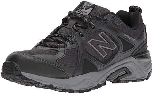 New Balance Men's 481V3 Water Resistant Cushioning Trail Running Shoe, Black/Grey, 10.5 4E US