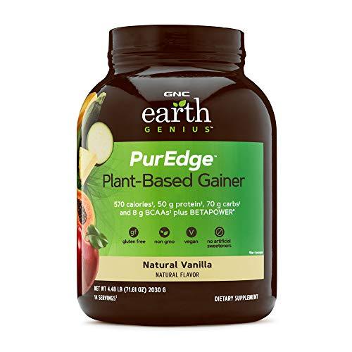 GNC Earth Genius PurEdge Plant-Based Gainer, Natural Vanilla, 4.48 lbs