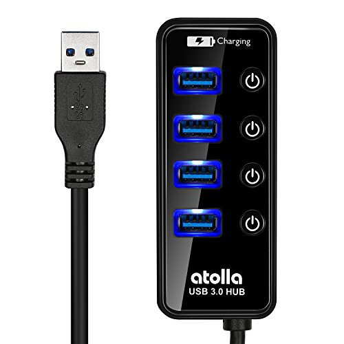 USB 3.0 Hub, atolla 4 Ports Super Speed USB 3 Hub Splitter with On Off Switch with 1 USB Charging Port (Cable Length 2 Feet, No AC Adapter) (4-Port hub)