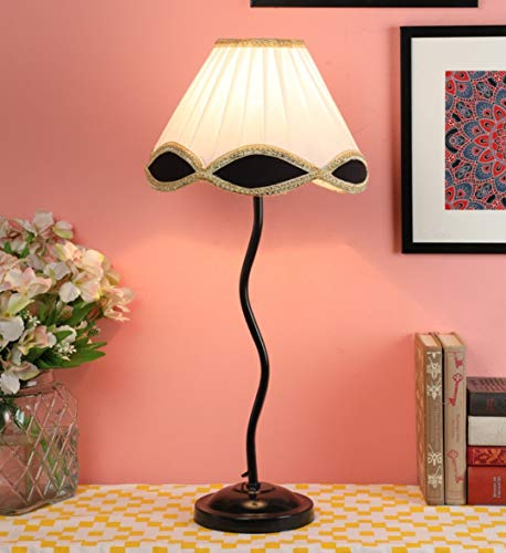 Ntu-24-White-Cotton-Shade-Table-lamp-with-Metal-Base-by-tu-casa-Holder-Type-b-22-Bulb-not-Included