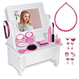 PixieCrush: Wooden Beauty Vanity Play Set - Vanity Set with Mirror Gift for Girls Aged 3, 4, 5 ,6 ,7 - Vanity Set with Mirror Princess Toys - Kids Vanity Set for Girls - Vanity Mirror with 15-Piece