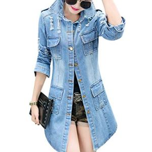 Tanming Women's Casual Lapel Slim Long Sleeve Denim Outercoat Jacket Windbreaker 6 Fashion Online Shop Gifts for her Gifts for him womens full figure