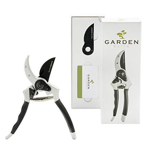 Razor Sharp Bypass Pruning Shears - Lifetime Replacement - Free Extra Blade, Spring & eBook - Japanese Steel - Premium Hand Pruner - Gardening Shear - Garden Clippers - Secateur with Ergonomic Handles