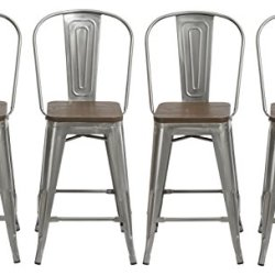 BTEXPERT 24″ Industrial Clear Metal Vintage Antique Style Distressed Brush Rustic Dining Counter height Bar Stool Chair High Back Handmade Wood top seat Set of 4 Barstool