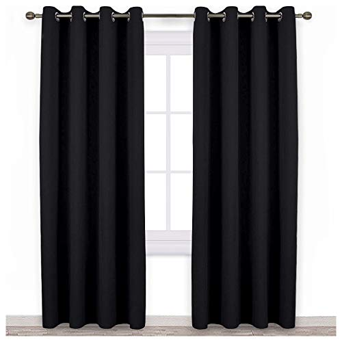 NICETOWN Patio Blackout Curtain Shades - Summer Home Decoration Thermal Insulated Grommet Blackout Draperies/Drapes for Kitchen (Two Panels, 52-Inch x 95-Inch,Black)