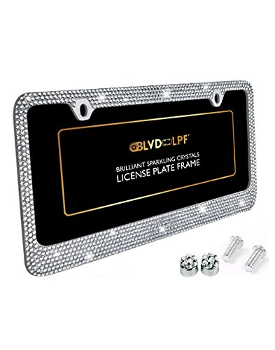 BLVD-LPF OBEY YOUR LUXURY  Popular Bling 7 Row White/Clear Color Crystal Metal Chrome License Plate Frame With Crystal Screw Caps - 1 Frame