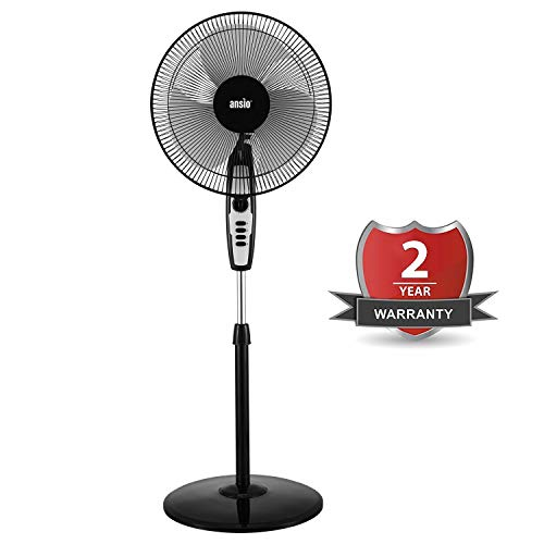 ANSIO High Speed Pedestal Fan with 2 Hour Timer 400 mm / 16 Inch   100% Copper Motor with High Speed Performance – 120 Watts 2300 RPM (Black)