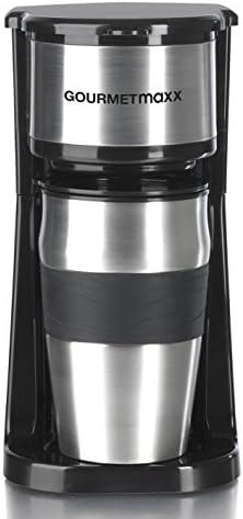 GOURMETmaxx Single Kaffeemaschine mit Thermobecher   Filter Kaffeemaschine Mini to go Becher, für Singles oder für zwei Tassen   Edelstahl [ca. 400ml/schwarz]