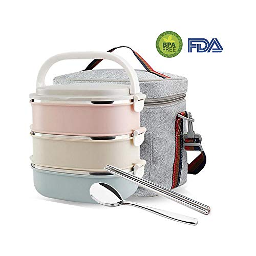 Mr.Dakai Stainless Steel Heat/cold Insulated Lunch Box, Lock Container Bag/Food Carrier/Food Container With Spoon and Chopsticks Set for Adults Children Kids (Square) 3 Tier