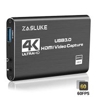 ZasLuke 4K HDMI Game Capture Card, USB 3.0 HDMI Video Capture Device with HDMI Loop-Out 1080P 60FPS Live Streaming Game Recorder Device for PS4, Nintendo Switch, Xbox One&Xbox 360 and More (Black)