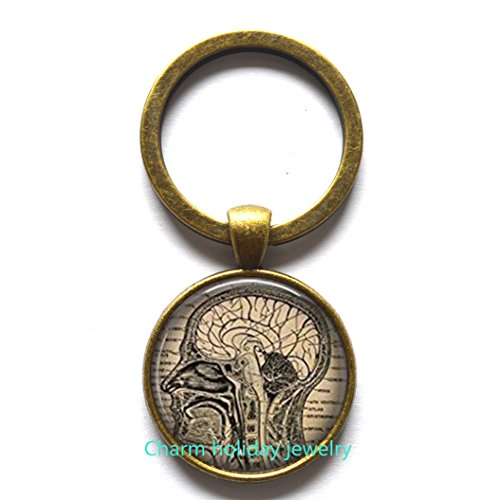 Steampunk anatomical brain Keychain, men's Keychain, human brain anatomy Keychain, medical gift, art graphic