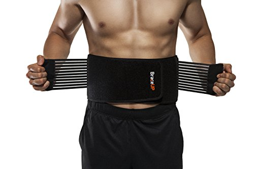 BraceUP Stabilizing Lumbar Lower Back Brace Support Belt Dual Adjustable Straps Breathable Mesh Panels (L/XL)