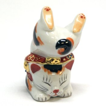 Japanese Maneki Neko Handstand Lucky cat Kutani ceramic