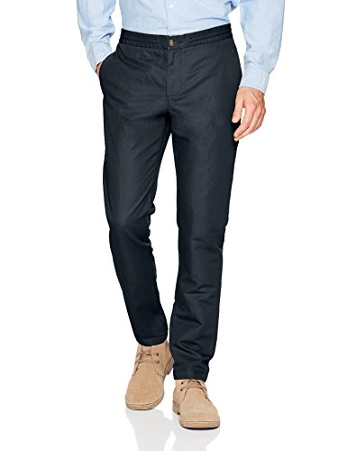 41gy9VAj6RL Men's linen pant featuring two back welt pockets and two front pockets Slim fit - slim taper through thighs and legs Elastic waistband for added stretch and comfort