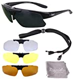 Rapid Eyewear Pro Performance Plus RX SPORTS SUNGLASSES FRAME with Interchangeable UV Polarized Lenses. For Men and Women. For Cycling, Driving, Running, Shooting, Sailing etc. UV400 Protection