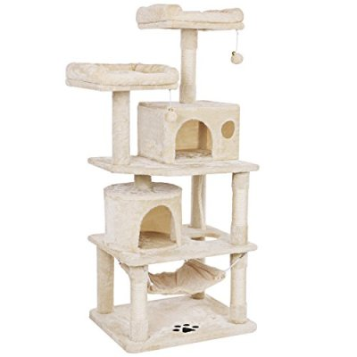 BEWISHOME Cat Tree with Sisal Scratching Posts, 2 Condos, Plush...