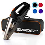 SwiftJet Car Vacuum Cleaner - High Powered 4 KPA Suction Handheld Automotive Vacuum - 12V DC 120 Watt - 14.5' Cord - Multiple Attachments (Orange)