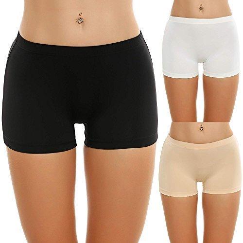 Ekouaer Boy Short Panties Womens Micofiber Seamfree Underwear (Black/White/Nude, Small)