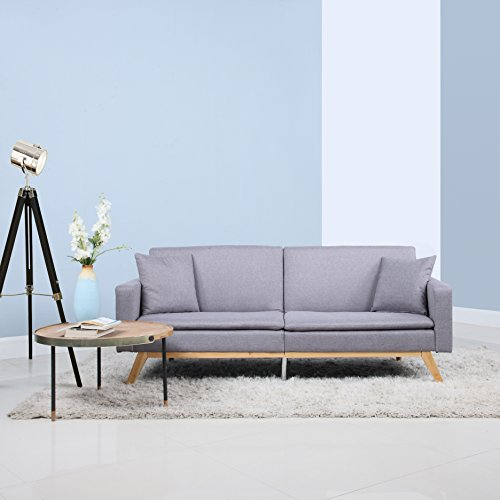 DIVANO ROMA FURNITURE Modern Tufted Linen Splitback Recliner Sleeper Futon Sofa (Light Grey)