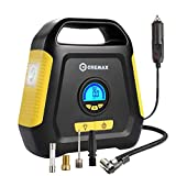 Car Tire Inflator, CREMAX Air Compressor Pump, 12V DC Portable Automotive Air Pump up to 120 PSI, Digital LCD Display and Emergency Led Lighting for Car, Bicycle, Motorcycle, Balls