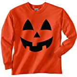 Youth Jack-O-Lantern Halloween Long Sleeve T-Shirt in Orange - Small (6/8)