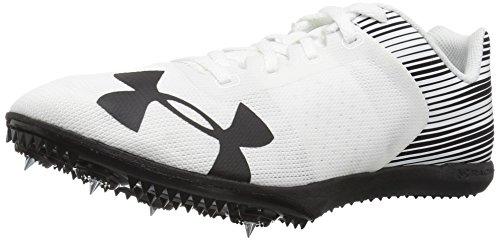 Under Armour Men's Kick Distance Spike Running Shoe, White (102)/Black, 9
