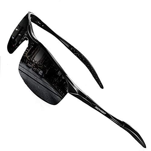 ROCKNIGHT Driving Polarized Sunglasses for Men UV Protection HD Glasses Ultra Lightweight Al-Mg Metal Outdoor Golf Fishing Sports Sunglasses Rimless