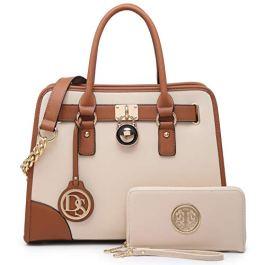 Fashion Women Satchel Handbags PU Leather Top Handle Tote Purse Chain Shoulder Bag with Wallet 2 Pcs Set