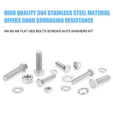 DYWISHKEY-540-PCS-M4-M5-M6-304-Stainless-Steel-Hex-Flat-Head-Bolts-Nuts-Washers-Assortment-Kit