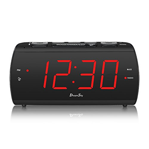 DreamSky Large Alarm Clock Radio with FM Radio and USB Port for Charging, 1.8' LED Digit Display with Dimmer, Snooze, Sleep Timer, Adjustable Alarm Volume, Headphone Jack, Outlet Powered