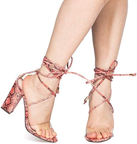 JSUN7 Women's Fashion Lace Wrap Open Round Toe Summer Chunky Block Elegant Heel Sandal Pump Shoe 6