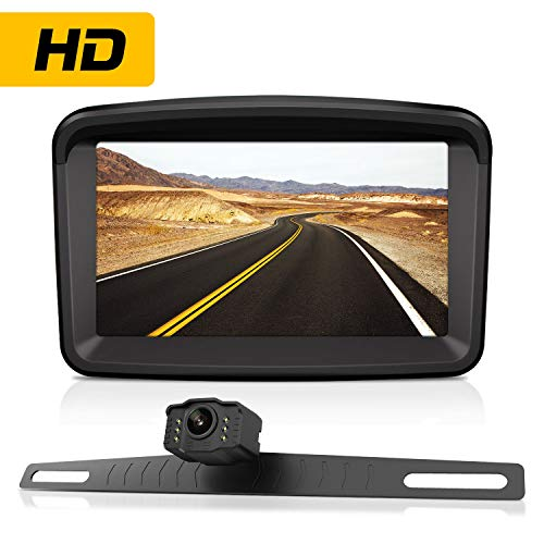 Backup Camera with Monitor License Plate Mounted Digital Reversing observation Camera Night Vision Waterproof Rear View for 5' LCD Monitor be Used for Safety Driving of Vans,Trucks,Camping Cars,RVs,et