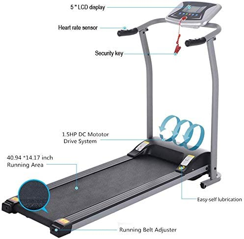 Aceshin Electric Folding Treadmill Power Motorized Walking Jogging Running Machine Cardio Fitness Exercise Equipment Space Saving for Home Gym Easy Assembly 4