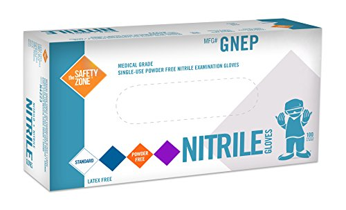 The Safety Zone GNEP-LG-1P Nitrile Exam Gloves – Medical Grade, Powder Free, Latex Rubber Free, Disposable, Non Sterile, Food Safe, Textured, Indigo Color,Convenient Dispenser Pack of 100, Size Large deal 50% off 41hKMnz7GUL