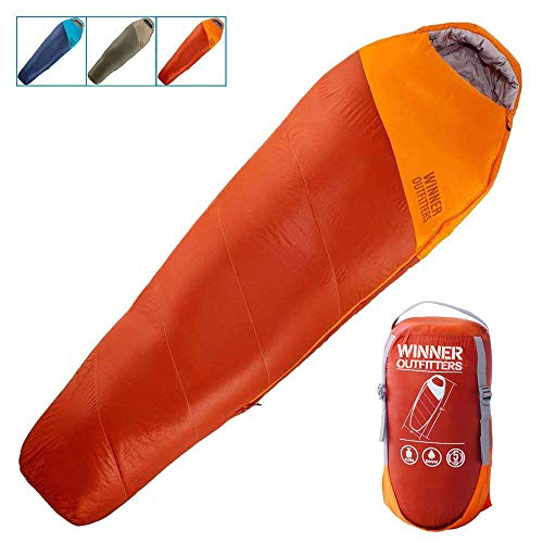 WINNER OUTFITTERS Mummy Sleeping Bag with Compression Sack, It's Portable and Lightweight for 3-4 Season Camping, Hiking, Traveling, Backpacking and Outdoor Activities(Orange,4.5lbs)