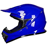 ILM Youth Kids ATV Motocross Dirt Bike Motorcycle BMX MX Downhill Off-Road MTB Mountain Bike Helmet DOT Approved (BLUE, Youth-XL)