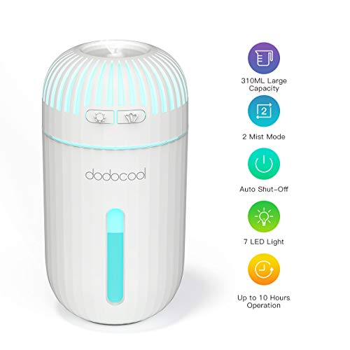 dodocool USB Car Humidifier, 310ml Ultrasonic Car Diffuser Portable Mini Cool Mist Humidifier Two Mode Air Humidifier with 7 Color LED Lights, Mute and Auto Shut-Off Suit for Home Office Travel