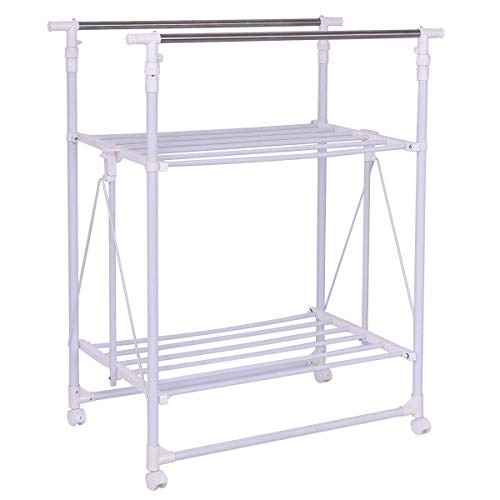 Tangkula Drying Garment Rack Adjustable Rolling Heavy Duty Double Rail Folding Tower Shoes Clothing Storage Organizer with Wheels and Shelves (58.5' x 20' x 71'), Show as pic