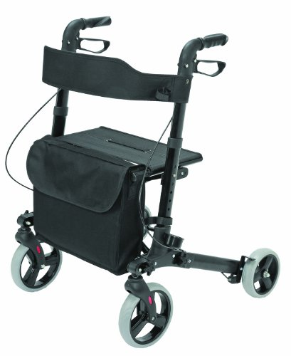 Four Wheel Rollator Walker with Seat for Seniors made of compact folding lightweight aluminum includes seat, backrest, cane holder and storage tote holds a weight capacity up to 300 pounds, Black